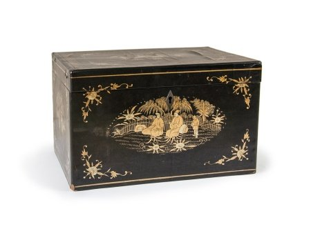 CHINESE LACQUER TEA CADDY BOX