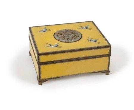 YELLOW ENAMELED CRANE BOX JADE MEDALLION