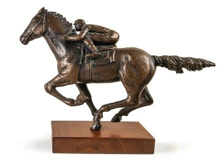 BRONZE FIGURE OF JOCKEY AND HORSE