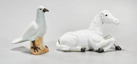 TWO CHINESE PORCELAIN ANIMAL FIGURES