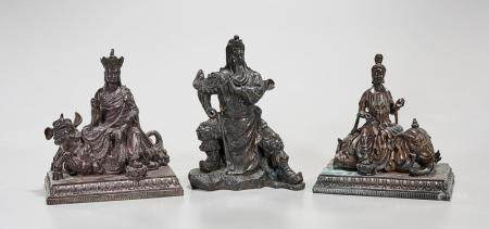 GROUP OF THREE CHINESE BRONZE FIGURES