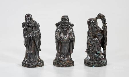 SET OF THREE CHINESE BRONZE STAR GOD FIGURES