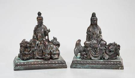TWO CHINESE BRONZE GUANYIN FIGURES