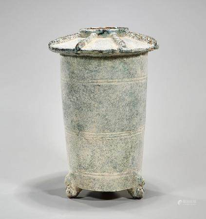 CHINESE HAN-STYLE COVERED POTTERY URN