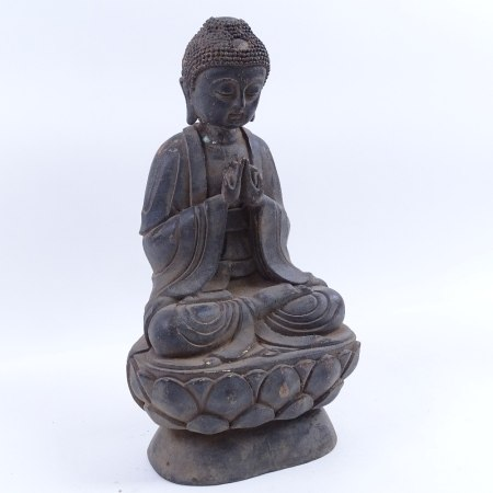 A Chinese bronze seated Buddha, on lotus base, unsigned, height 31cm