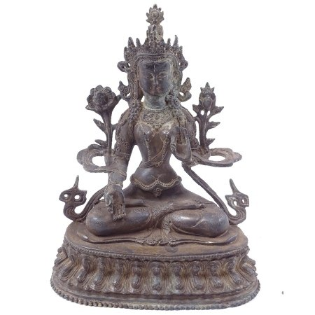 A Chinese bronze seated Buddha figure, on double lotus base, height 21cm