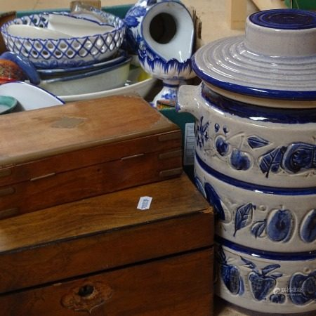 Blue and white china, and various boxes etc