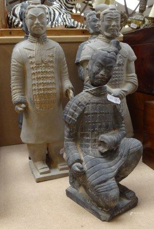 A set of 5 Oriental terracotta warrior style figures, tallest 38cm