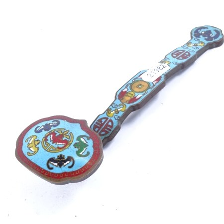 A Chinese bronze and champleve enamel rui sceptre, length 20cm