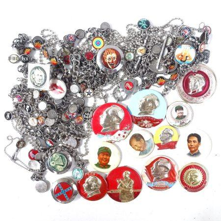 A collection of Winky & Dutch bracelets, and a collection of Chairman Mao badges
