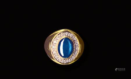 18K金鑲星光藍寶石指環
