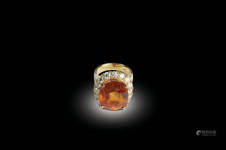 K黃金鑲碎鑽嵌黃寶石指環