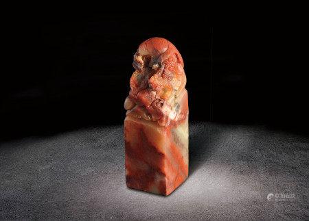清  壽山石雕瑞獸鈕印章