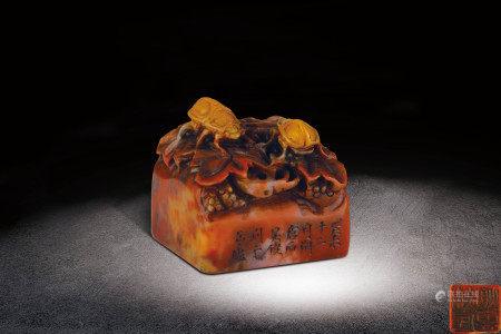 清  壽山石雕甲蟲鈕印章