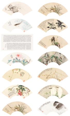 居巢·鄧白   花鳥  扇面十二幀(印本)·書法