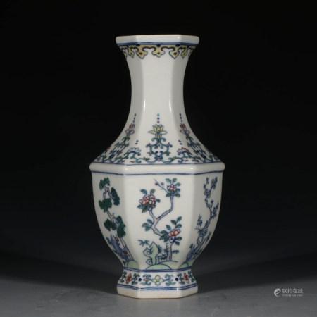 A Chinese Doucai Floral Porcelain Hexagon Vase
