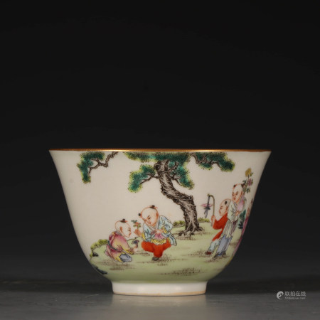 A Chinese Famille Rose Children Painted Porcelain Cup