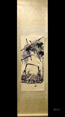 A Chinese Painting Scroll, Qi Baishi Mark