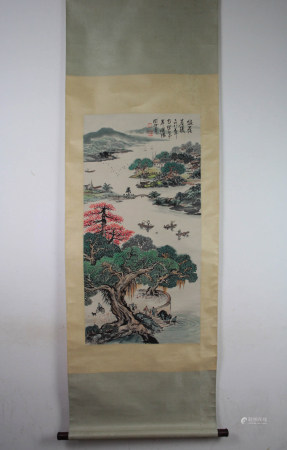 A Chinese Landscape Painting Scroll, Guan Shanyue Mark