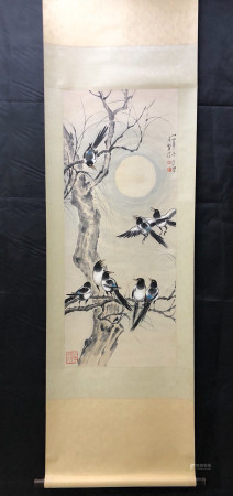 A Chinese Flower&bird Painting Scroll, Xu Beihong Mark