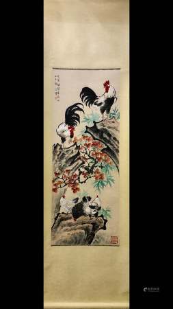 A Chinese Rooster Painting Scroll, Xu Beihong Mark