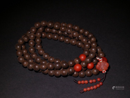 A Chinese 108pcs Eaglewood Beads String prayer beads
