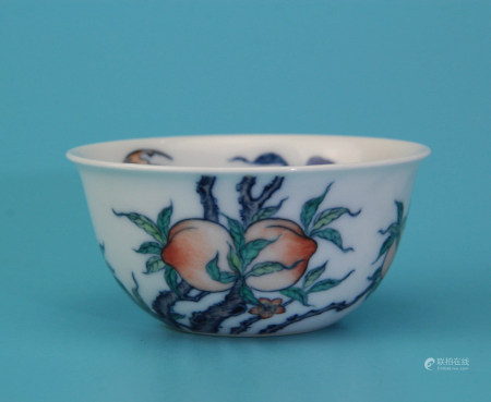 A Chinese Doucai Peach Painted Porcelain Cup