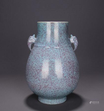 A Chinese Lujun Glazed Porcelain Double Ears Zun
