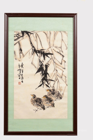 A Chinese Flower&birds Painting, Sun Qifeng Mark