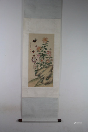 A Chinese Flower&bird Painting Scroll, Dong Shouping Mark