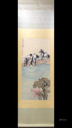 A Chinese Horse Painting Scroll, Xu Beihong Mark