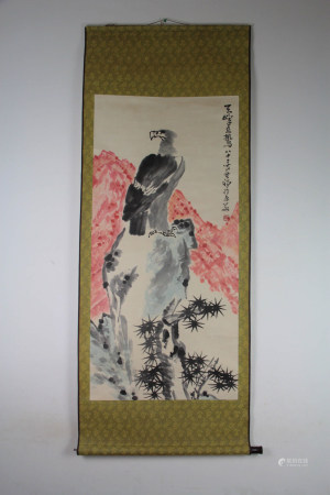 A Chinese Eagle Painting Scroll, Li Kuchan Mark