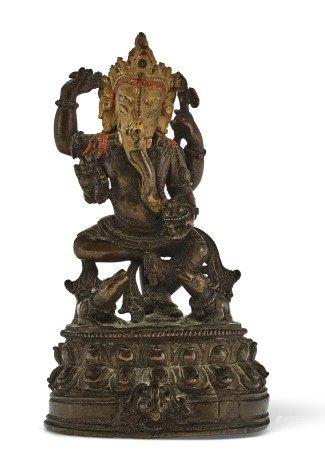 喜玛拉雅山西部 十六世纪 铜象头神像 WESTERN HIMALAYAS, 16TH CENTURY