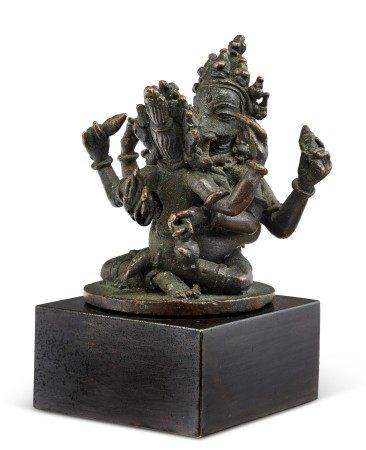 尼泊尔 十八世纪 铜六臂象头神坐像 NEPAL, 18TH CENTURY