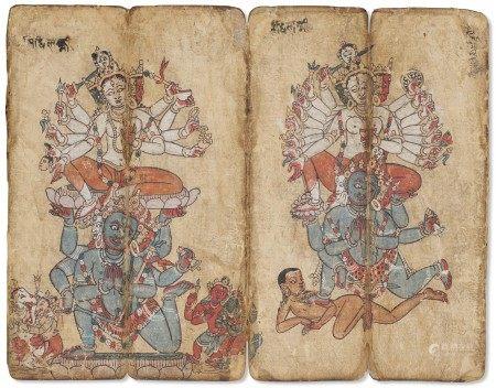 尼泊尔 十六世纪 印度教诸神图册页两页 NEPAL, 16TH CENTURY