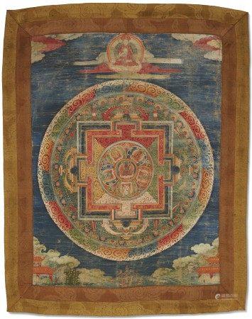 西藏 十九/二十世纪 金刚总持曼荼罗唐卡 TIBET, 19TH-20TH CENTURY