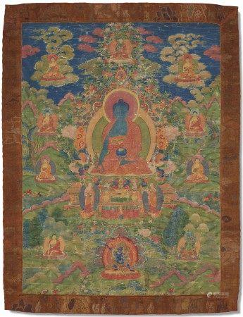 西藏 十八/十九世纪 药师佛唐卡 TIBET, 18TH-19TH CENTURY