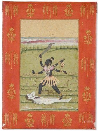 印度 拉贾斯坦邦 可能为斋浦尔 十八世纪晚期 时母图 INDIA, RAJASTHAN, POSSIBLY JAIPUR, LATE 18TH CENTURY
