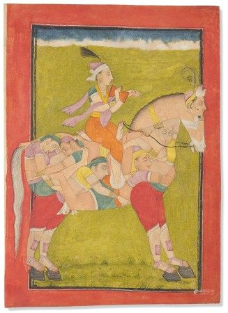 印度北部 比拉斯布尔 约1700 至1720 年前后 骑士图 NORTH INDIA, BILASPUR, CIRCA 1700-1720