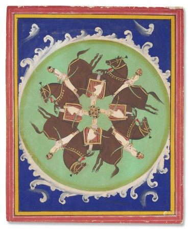 印度 拉贾斯坦邦 可能为乌代浦尔或梅瓦尔 十九世纪下半叶 骑士图 INDIA, RAJASTHAN, POSSIBLY UDAIPUR OR MEWAR, SECOND HALF 19TH CENTURY