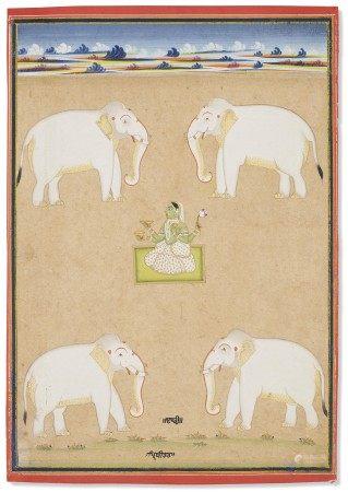 印度 拉贾斯坦邦 斋浦尔 约 1840 年前后 颇哩提毗与象图 NORTHWEST INDIA, RAJASTHAN, JAIPUR, CIRCA 1840