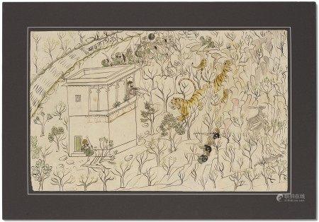 印度 拉贾斯坦邦 科塔 十九世纪或以后 国王猎虎图 INDIA, RAJASTHAN, KOTAH, 19TH CENTURY OR LATER