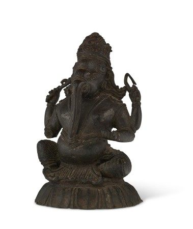 印度南部 喀拉拉邦 十四世纪 铜象头神像 SOUTH INDIA, KERALA, 14TH CENTURY