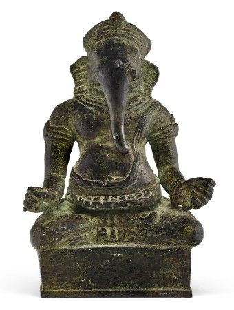高棉 吴哥王朝 十一/十二世纪 铜象头神像 KHMER, ANGKOR PERIOD, 11TH-12TH CENTURY