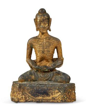泰国 十九世纪晚期/ 二十世纪初 铜漆金释迦牟尼苦行像 THAILAND, LATE 19TH-EARLY 20TH CENTURY