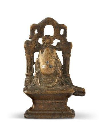 印度北部 喜马偕尔邦 十世纪 铜错银林伽龛 NORTH INDIA, HIMACHAL PRADESH, 10TH CENTURY