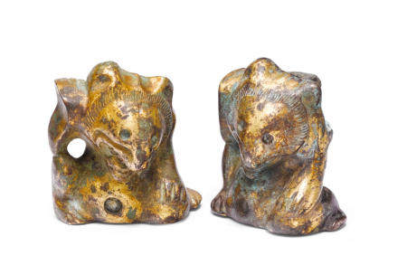 Two gilt bronze bear-form supports  Han dynasty (2)