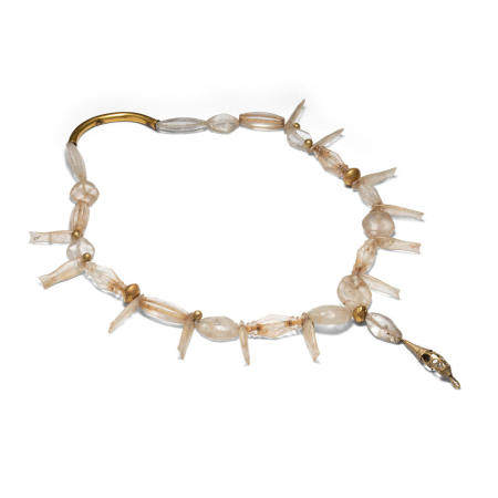 A crystal and gold bead necklace The crystal: Liao dynasty or later