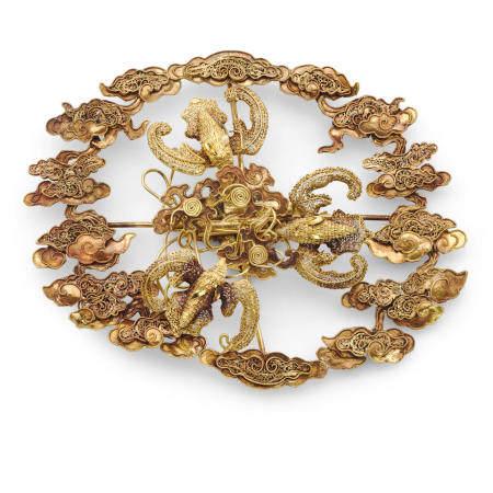 A gold hairnet ornament, dianshi  Qing dynasty