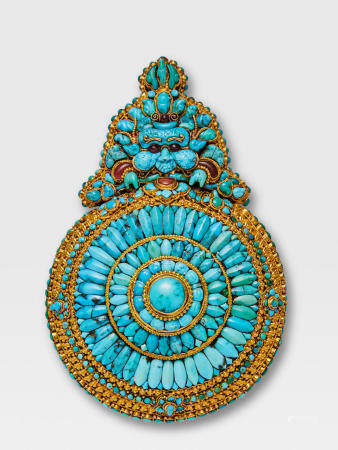 A TURQUOISE AND GOLD 'MOONEATER' (CHEPPU) LHASA, TIBET, CIRCA 1900